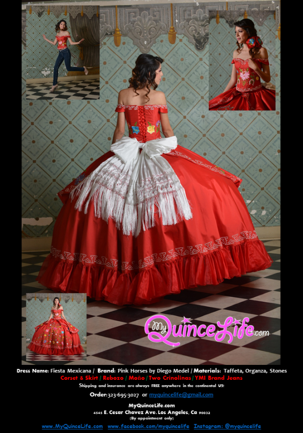 Beautiful charro style Quinceanera dress. Embroidered flowers