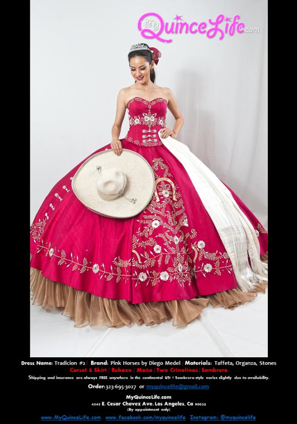 35e244f979c Burgundy charro Quinceanera dress   Vestido charro de quinceanera